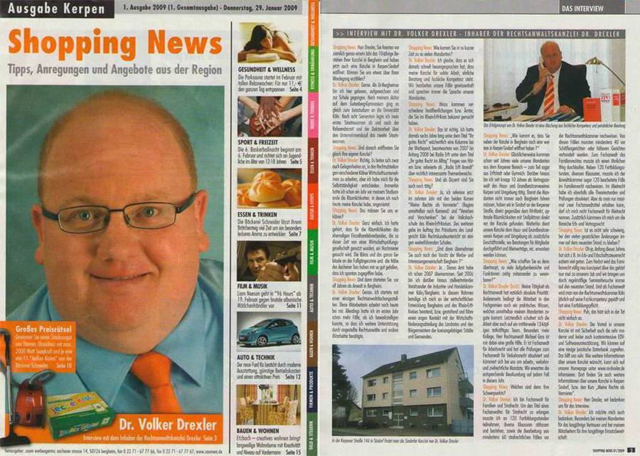 Dr. Drexler in Kerpener Shopping News